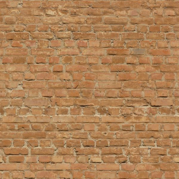 Brick Wall Light: Worn light red brick wall with cracks and damaged bricks.,Lighting