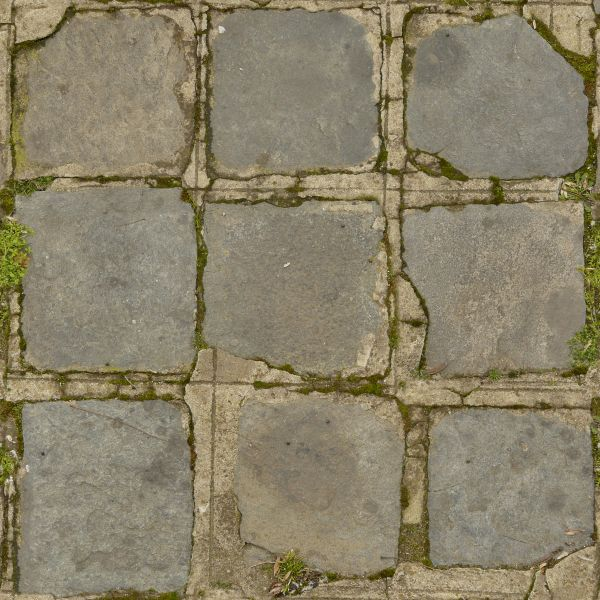 Seamless Texture Of Concrete Tiles With Very Worn Surface And Some  Vegetation In Cracks.