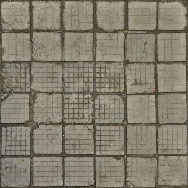 Seamless Texture Of Square Concrete Tiles With Gridded Patterns And Cracks