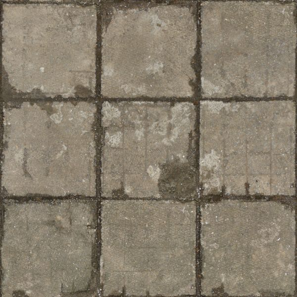 Seamless Texture Of Square Concrete Slabs In Grey Tone With Worn Cracked Surface