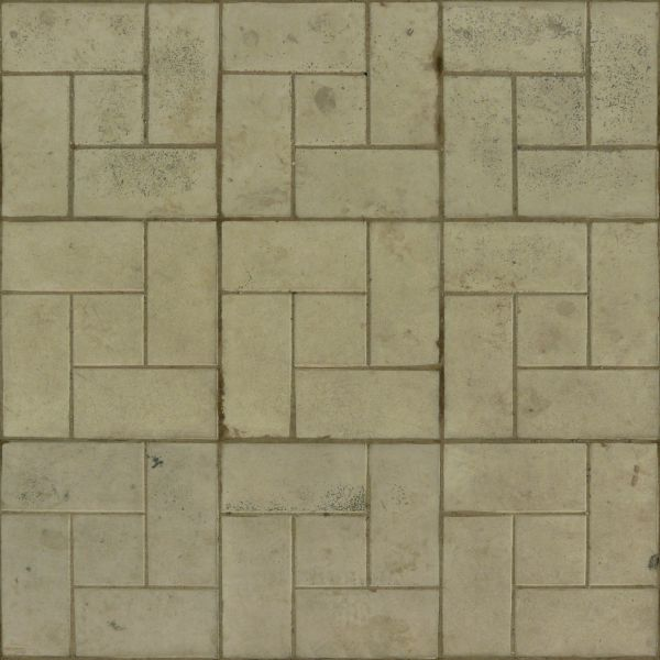 Seamless Texture Consisting Of Beige Tiles In Tone With Repeating Patterns And Dirty Surface
