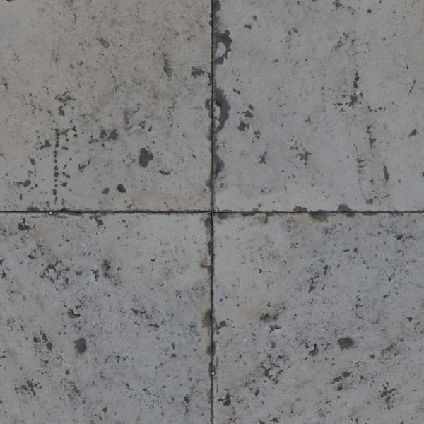 Seamless pavement texture consisting of square, grey tiles with worn surface.