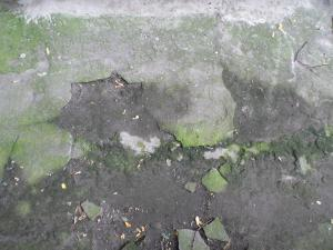 Concrete floor texture with very damaged surface and green stains.