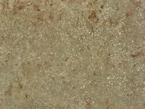 Worn concrete ground texture in brown color with small, jagged rocks embedded in surface.