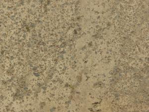 Texture of concrete ground in light beige tone with grey rocks embedded in surface.