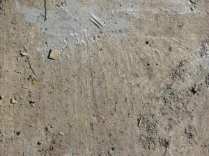 Rugged concrete ground texture with grey paint spot and litter on surface.
