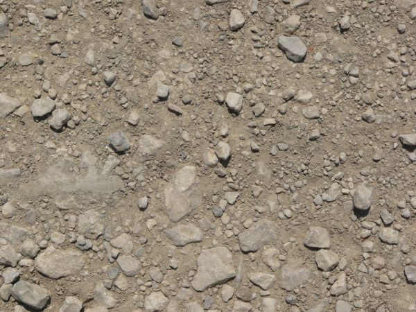 Ground texture of grey rocks of various sizes embedded in rough, grey dirt.