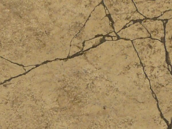 Concrete texture in tan color with myriads of thin cracks.