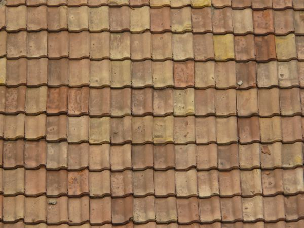 Slightly Worn Roofing Texture Of Even, Brown Shingles With Spots.