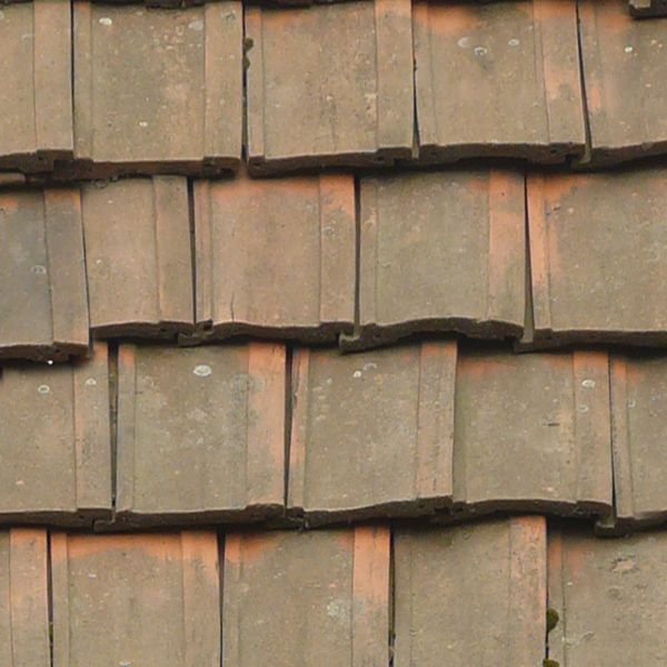 Seamless old roof texture consisting of flat square shingles in a