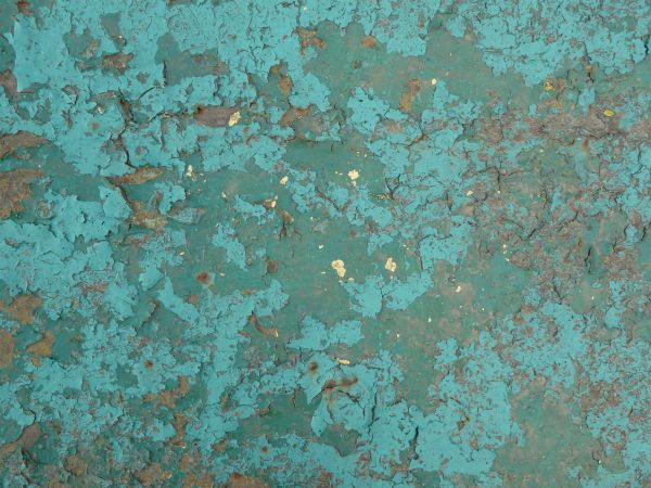 Blue Painted Metal Texture, With Extensive Chipping, Discoloration And  Faint Brown Rust Stains.