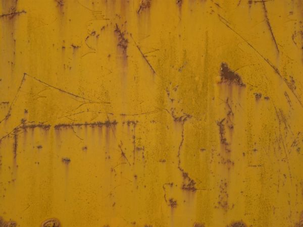 Yellow Metal Texture With Various Thin Rust Scratches And Large Stains Visible Througout
