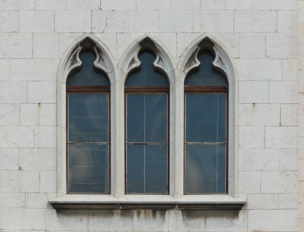 Tall Gothic Windows Texture Set In A White Stone Wall Row Of Three