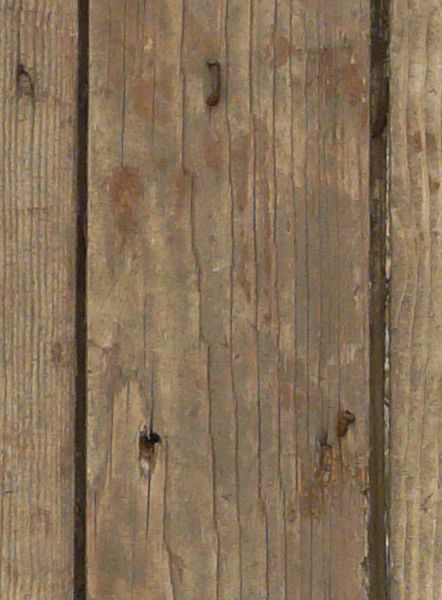 Rustic Wood Plank : Rustic brown planks with light spots and bent nails covered in rust.
