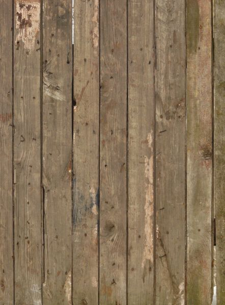 Rustic brown planks with light spots and bent nails covered in rust.